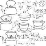 Elementos del diseño del té de la vendimia Imagen de archivo libre de regalías