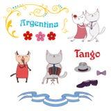 Elementos del diseño del tango de Argentina Fotografía de archivo