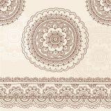 Elementos del diseño del vector del Doodle de la mandala de Mehndi de la alheña Fotos de archivo