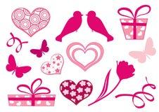 Elementos del diseño determinado del día del `s de la tarjeta del día de San Valentín. Fotos de archivo libres de regalías