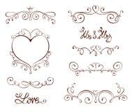 Elementos del diseño determinado para los día de San Valentín y la boda Fotografía de archivo libre de regalías