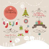 Elementos del diseño determinado por la Navidad y el Año Nuevo Fotografía de archivo libre de regalías