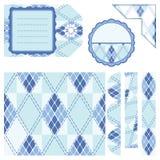 Elementos del diseño para el libro de recuerdos - azul Imagen de archivo