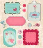 Elementos del diseño para el libro de recuerdos del bebé Imagen de archivo libre de regalías
