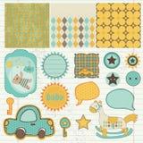 Elementos del diseño para el libro de recuerdos del bebé Fotografía de archivo