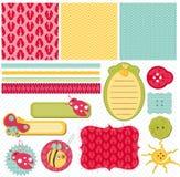 Elementos del diseño para el libro de recuerdos del bebé Fotos de archivo libres de regalías