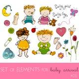 Elementos del diseño para la tarjeta de llegada del bebé Imagen de archivo libre de regalías