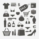 Elementos del diseño que hacen compras Imagen de archivo libre de regalías