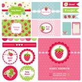 Elementos del diseño - tema de la fiesta de bienvenida al bebé de la fresa ilustración del vector