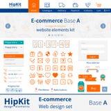 Elementos del diseño web del comercio electrónico Foto de archivo