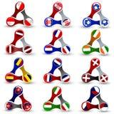 Elementos del diseño web en forma del hilandero con las banderas europeas Imagenes de archivo