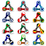Elementos del diseño web en forma del hilandero con las banderas europeas Ilustración del Vector