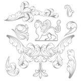 Elementos del diseño y decoración barrocos de la página Imágenes de archivo libres de regalías