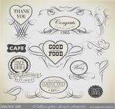 Elementos del diseño y decoración caligráficos de la página Imágenes de archivo libres de regalías