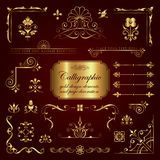 Elementos del diseño y decoración caligráficos de la página en oro Imágenes de archivo libres de regalías