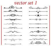 Elementos del diseño y decoración caligráficos de la paginación - Imagen de archivo