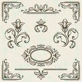 Elementos del diseño y decoración caligráficos de la paginación Fotografía de archivo