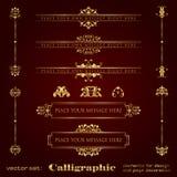 Elementos del diseño y decoración caligráficos de oro de la página - sistema del vector Imagen de archivo libre de regalías