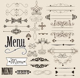 Elementos del diseño y decoraciones caligráficos de la paginación Fotografía de archivo