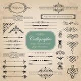 Elementos del diseño y sistema caligráficos del vector de la decoración de la página Fotos de archivo libres de regalías