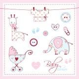 Elementos del diseño de la ducha de bebé Imagen de archivo libre de regalías