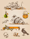 Elementos del diseño de Víspera de Todos los Santos Imágenes de archivo libres de regalías