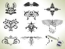 Elementos del diseño del flash del tatuaje Imágenes de archivo libres de regalías