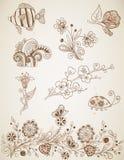 Elementos del diseño del vector del Doodle Fotos de archivo
