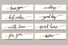 Elementos del diseño para la postal Frases para las tarjetas de felicitación Sistema de letras inspiradas escritas mano Foto de archivo libre de regalías