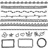 Elementos del Doodle ilustración del vector
