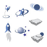Elementos del espacio ilustración del vector