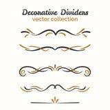 Elementos del Flourish Divisores dibujados mano fijados Elemento decorativo ornamental Diseño adornado del vector Imagen de archivo libre de regalías