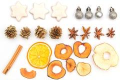 Elementos del fondo de la Navidad y del Año Nuevo aislados en blanco Foto de archivo