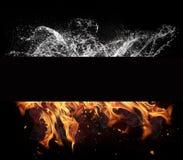 Elementos del fuego y del agua en fondo negro imagenes de archivo