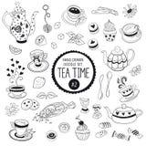 Elementos del garabato del tiempo del té Foto de archivo libre de regalías