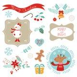 Elementos del gráfico de la Navidad stock de ilustración