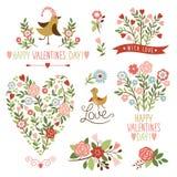 Elementos del gráfico del día de s de la tarjeta del día de San Valentín ' Fotografía de archivo libre de regalías