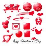 Elementos del gráfico del día de tarjetas del día de San Valentín Imágenes de archivo libres de regalías
