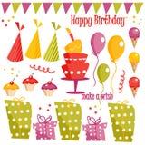 Elementos del gráfico de la fiesta de cumpleaños Imagen de archivo