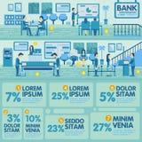 Elementos del gráfico de la información de la oficina del banco Foto de archivo libre de regalías