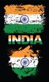 Elementos del Grunge con la bandera de la India Foto de archivo