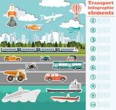 Elementos del infographics del transporte Coches, camiones, público, aire, wate ilustración del vector