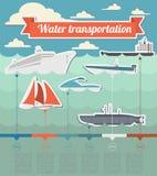 Elementos del infographics del transporte del agua nautical IL diseñado retro libre illustration