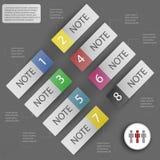 Elementos del infographics para las etiquetas engomadas y las etiquetas Foto de archivo libre de regalías