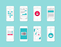 Elementos del interfaz del uso de Smartphone Imágenes de archivo libres de regalías