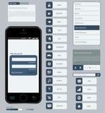 Elementos del interfaz usando diseño plano Foto de archivo