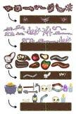 Elementos del juego en y en la tierra. Imagen de archivo libre de regalías