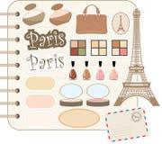 Elementos del libro de recuerdos con el d'Eiffel del viaje Imagen de archivo