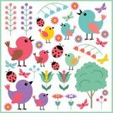 Elementos del libro de recuerdos con los pájaros y los insectos Imágenes de archivo libres de regalías