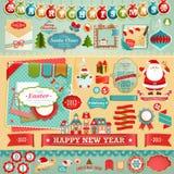 Elementos del libro de recuerdos de la Navidad Imágenes de archivo libres de regalías